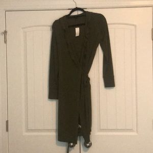 Hunter green wrap dress